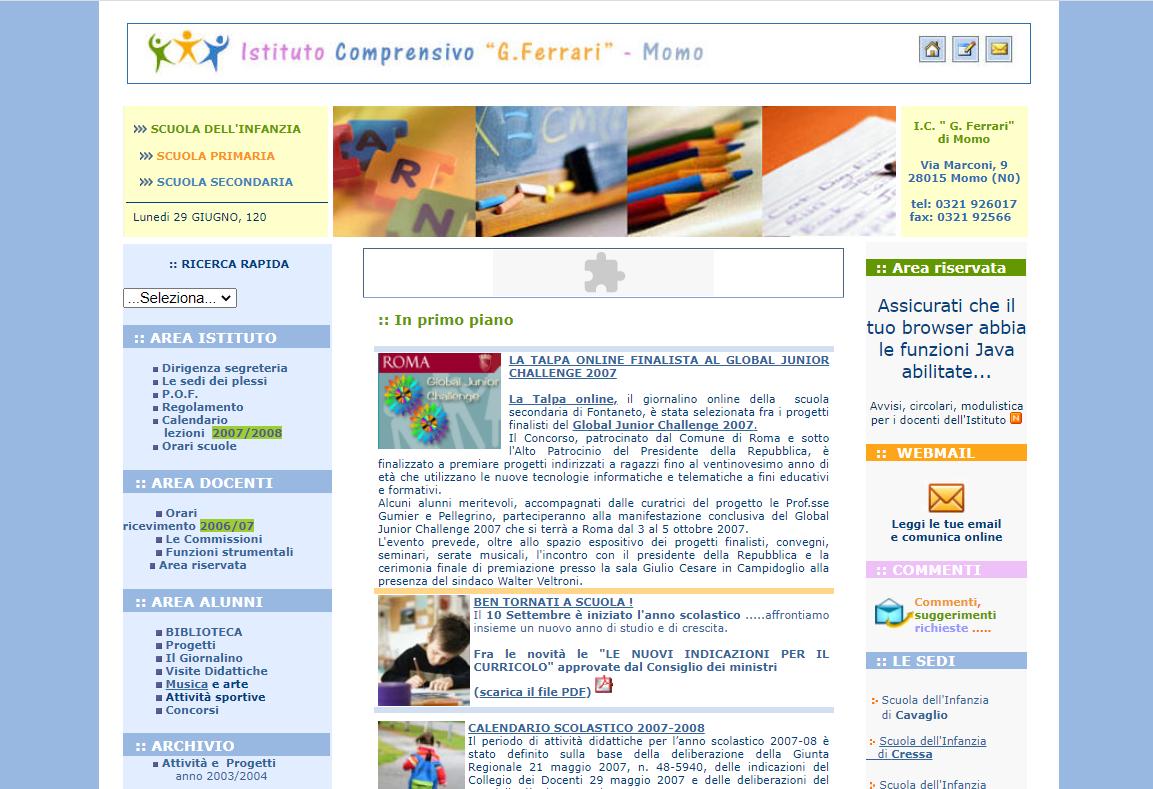 sito isticomomo.it - versione 2007