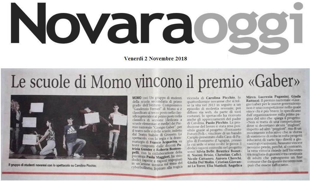 NOVARA OGGI: Le scuole di Momo vincono il premio Gaber
