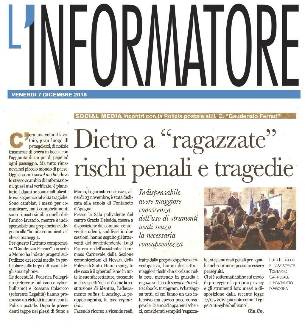 """INFORMATORE: Social media – Incontri con la Polizia postale all istituto comprensivo """"Gaudenzio Ferrari"""""""