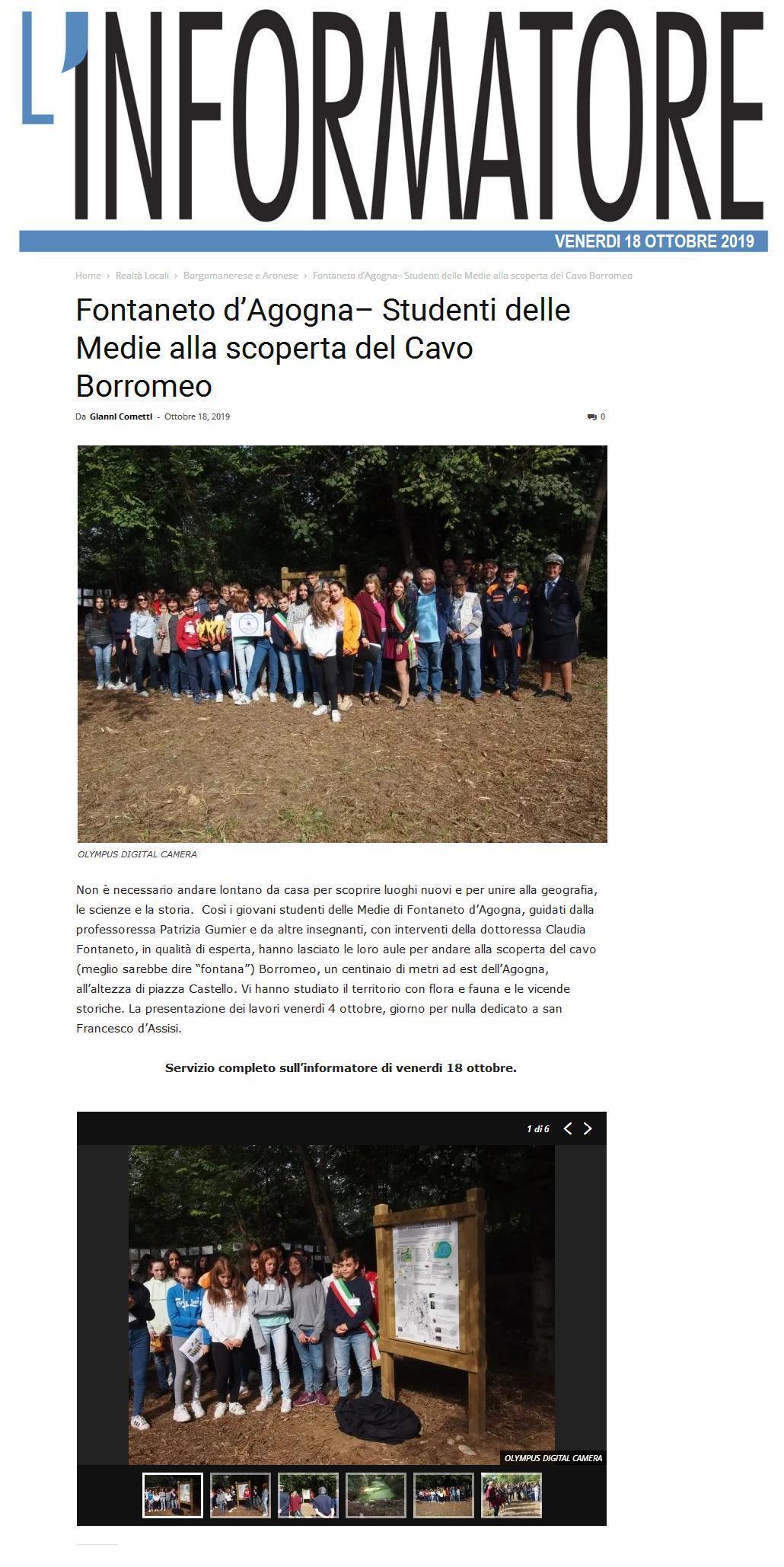 INFORMATORE: Fontaneto d'Agogna– Studenti delle Medie alla scoperta del Cavo Borromeo